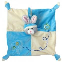 Doudou lapin bleu et écru avec hochet