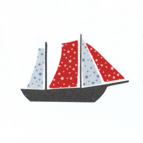 Appliqué thermocollant voilier rouge et gris