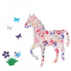 Appliqué thermocollant cheval gris rose papillons et fleurs