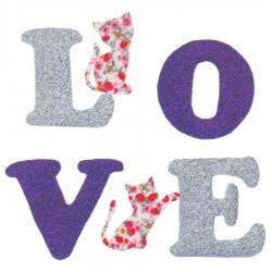 Appliqué thermocollant LOVE mauve et chats