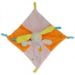 Doudou lapin orange avec hochet