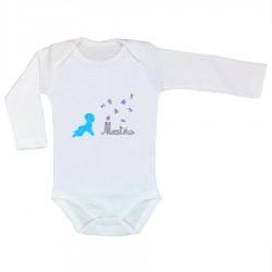 Kit body et appliqué thermocollant bébé bleu personnalisé