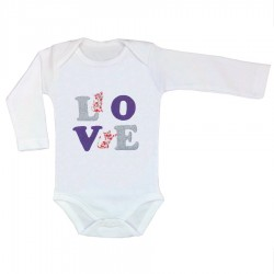 Kit body et appliqué thermocollant LOVE mauve et chats