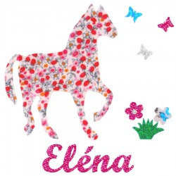 Appliqué thermocollant cheval rose papillons et fleurs