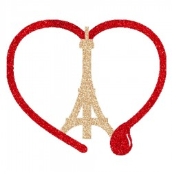 Appliqué thermocollant tour eiffel or coeur larme