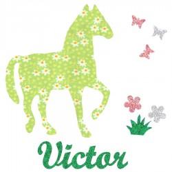 Appliqué thermocollant personnalisé cheval vert papillons et fleurs