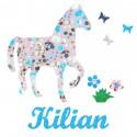 Appliqué thermocollant personnalisé cheval gris bleu papillons et fleurs