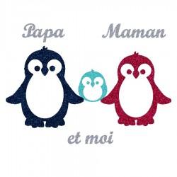 Appliqué thermocollant personnalisé famille pingouin