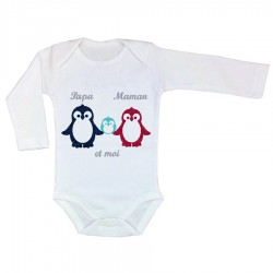 Body personnalisé famille pingouin