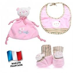 Ensemble cadeau rose - doudou, bavoir et chaussons