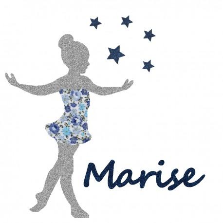 Appliqué thermocollant personnalisé petite danseuse bleu