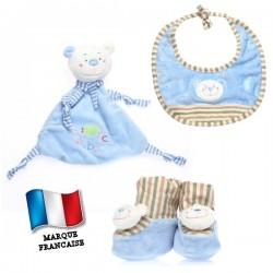 Ensemble cadeau bleu - doudou, bavoir et chaussons