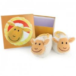 Chaussons bébé avec hochet mouton