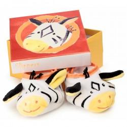 ee5ec69e7f9db Chaussons bébé avec hochet vache - Nanou Cadeaux