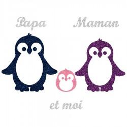 Appliqué thermocollant personnalisé famille pingouin fille