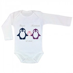 Body personnalisé famille pingouin fille en appliqué thermocollant