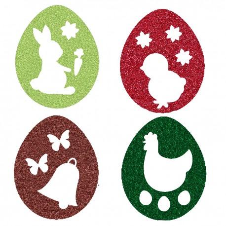 Appliqué thermocollant œufs de Pâques 4 couleurs N° 1