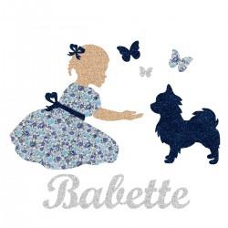 Appliqué thermocollant personnalisé fillette et chien bleu