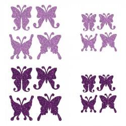 Appliqué thermocollant personnalisé lot 16 papillons mauve