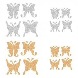Appliqué thermocollant personnalisé lot 16 papillons or et argent