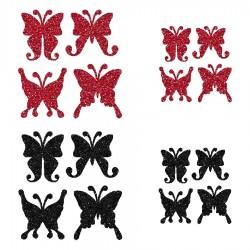 Appliqué thermocollant personnalisé lot 16 papillons rouge et noir