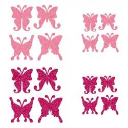 Appliqué thermocollant personnalisé lot 16 papillons rose