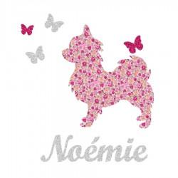 Appliqué thermocollant personnalisé chien et papillons rose