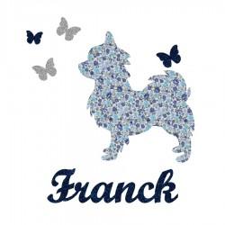 Appliqué thermocollant personnalisé chien et papillons bleu