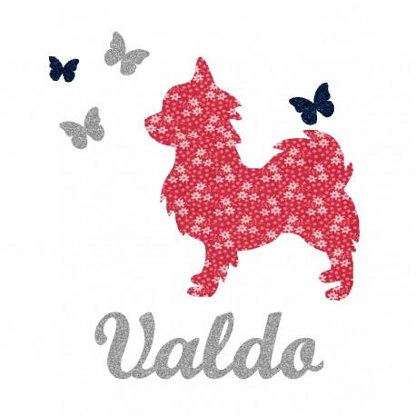 Appliqué thermocollant personnalisé chien et papillons rouge