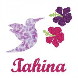 Appliqué thermocollant colibri et hibiscus mauve