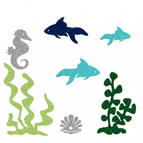 Appliqué thermocollant personnalisé poissons bleus