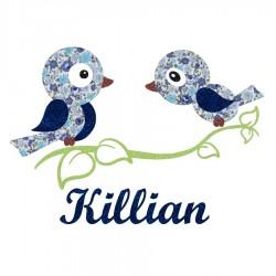 Appliqué thermocollant personnalisé oiseaux bleus sur une branche