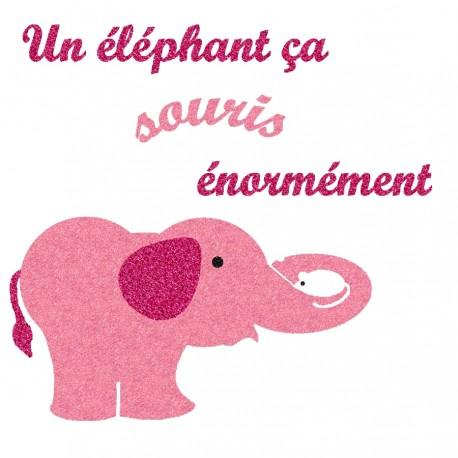 Appliqué thermocollant éléphant qui souris en flex pailleté rose