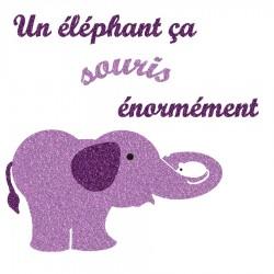 Appliqué thermocollant éléphant qui souris en flex pailleté mauve
