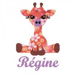 Appliqué thermocollant personnalisé girafe liberty orange et flex pailleté