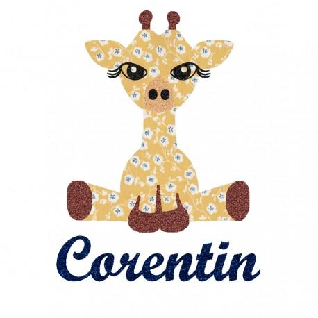 Appliqué thermocollant personnalisé girafe liberty jaune et flex pailleté