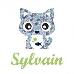 Appliqué thermocollant personnalisé chat en liberty bleu et poisson en flex pailleté
