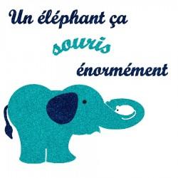 Appliqué thermocollant éléphant qui souris en flex pailleté bleu