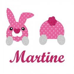 Appliqué thermocollant personnalisé lapin couché en tissu liberty rose et flex pailleté