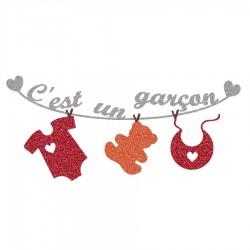 Appliqué thermocollant personnalisé naissance bébé garçon rouge et orange en flex pailleté