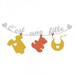Appliqué thermocollant personnalisé naissance bébé fille jaune et orange en flex pailleté