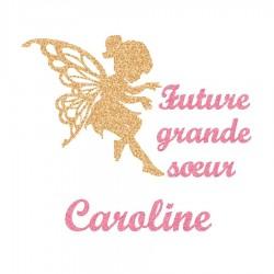 Appliqué thermocollant personnalisé future grande soeur flex pailleté doré et rose