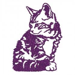 Appliqué thermocollant chat assis mauve en flex pailleté