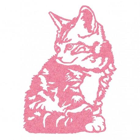 Appliqué thermocollant chat assis rose en flex pailleté