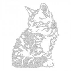 Appliqué thermocollant chat assis en flex pailleté or ou argent