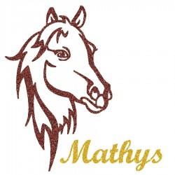 Appliqué thermocollant personnalisé profil cheval en flex pailleté brun