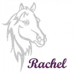 Appliqué thermocollant personnalisé profil cheval en flex pailleté argenté
