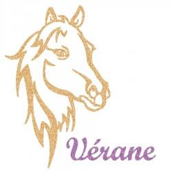 Appliqué thermocollant personnalisé profil cheval en flex pailleté doré