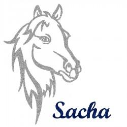 Appliqué thermocollant personnalisé profil cheval en flex pailleté gris