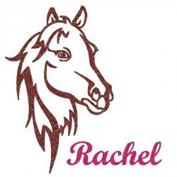 Appliqué thermocollant personnalisé profil cheval en flex pailleté marron